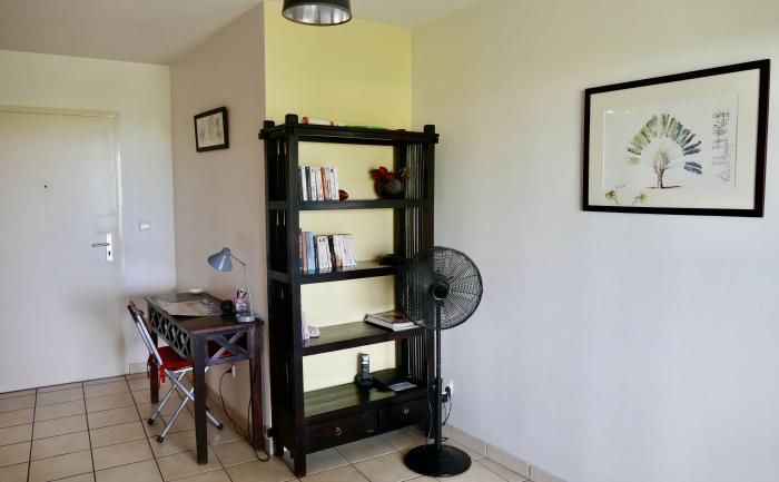 Bibliothèque et petit bureau pour rester connecté