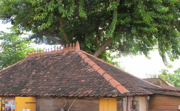 Habitation traditionnelle en bois et tuiles d'argile